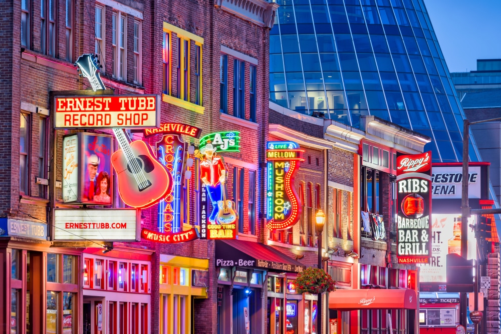 Explore the incredible shops and attractions on Broadway Street in Downtown Nashville